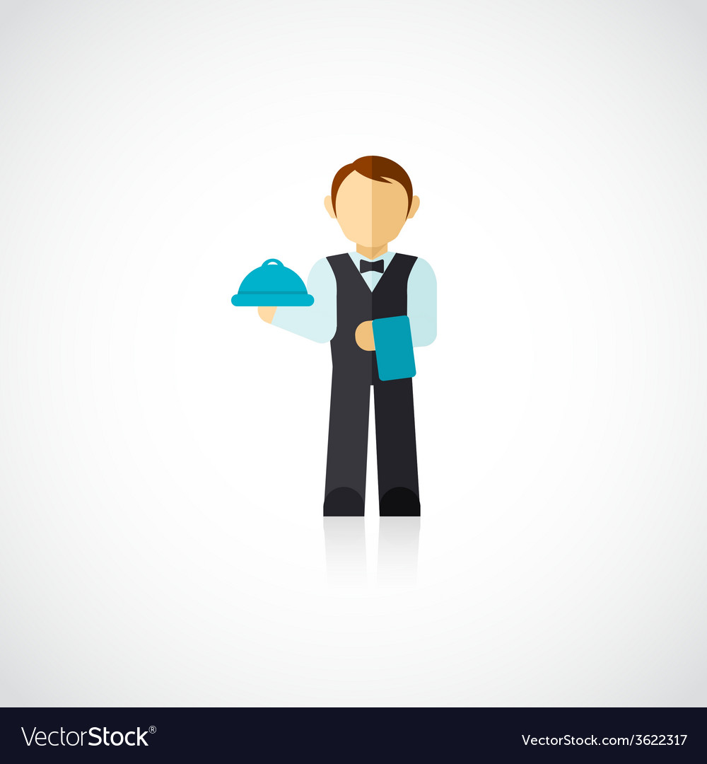 Waiter man icon flat vector | Price: 1 Credit (USD $1)