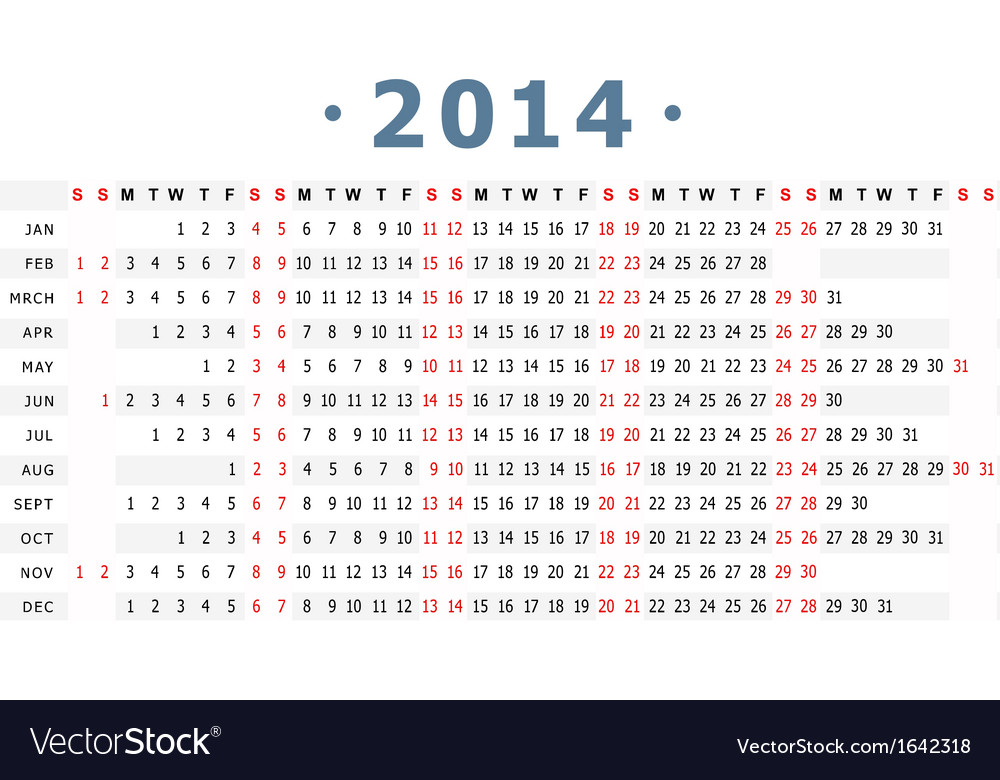2014 calender vector | Price: 1 Credit (USD $1)