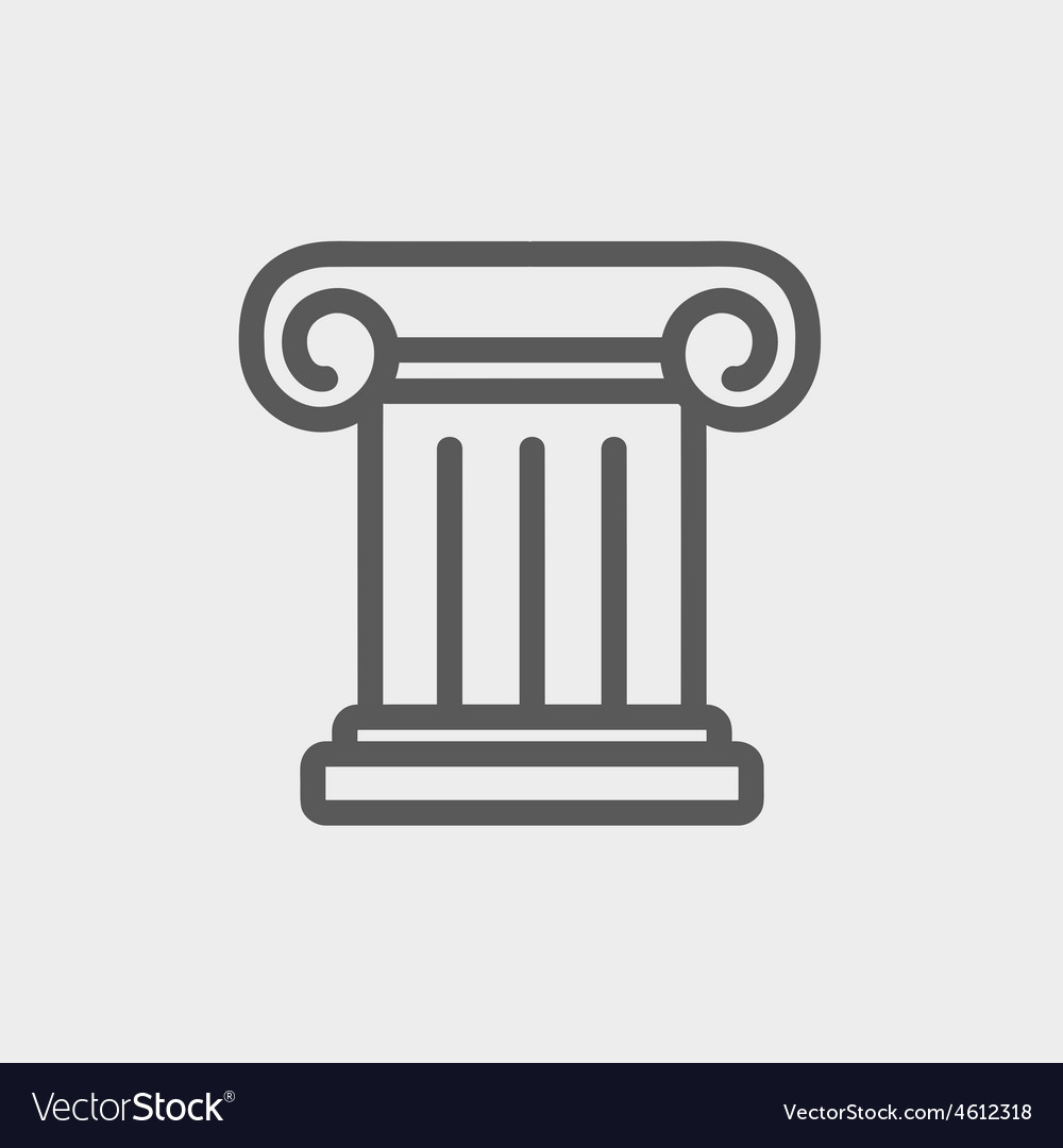 Ancient wall thin line icon vector | Price: 1 Credit (USD $1)