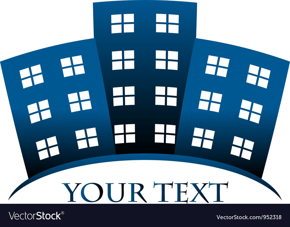 Blue symbol of buildings and space for your text vector | Price: 1 Credit (USD $1)