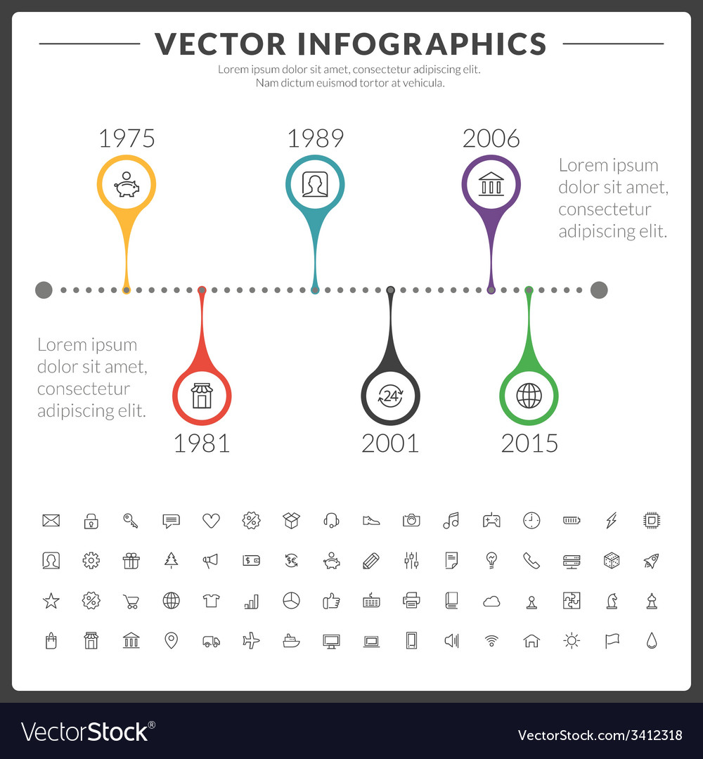 Infographics and design elements with icon set for vector | Price: 1 Credit (USD $1)