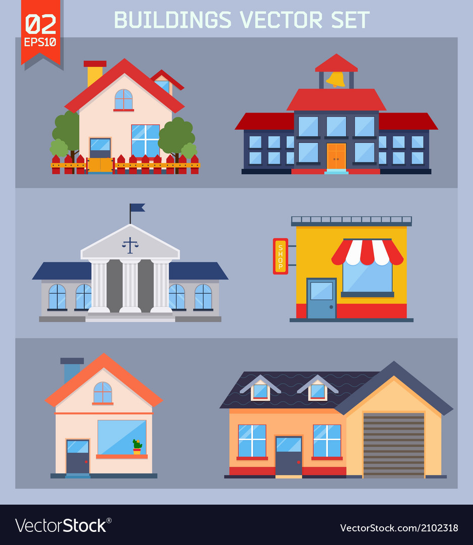 Modern flat buildings set vector | Price: 1 Credit (USD $1)
