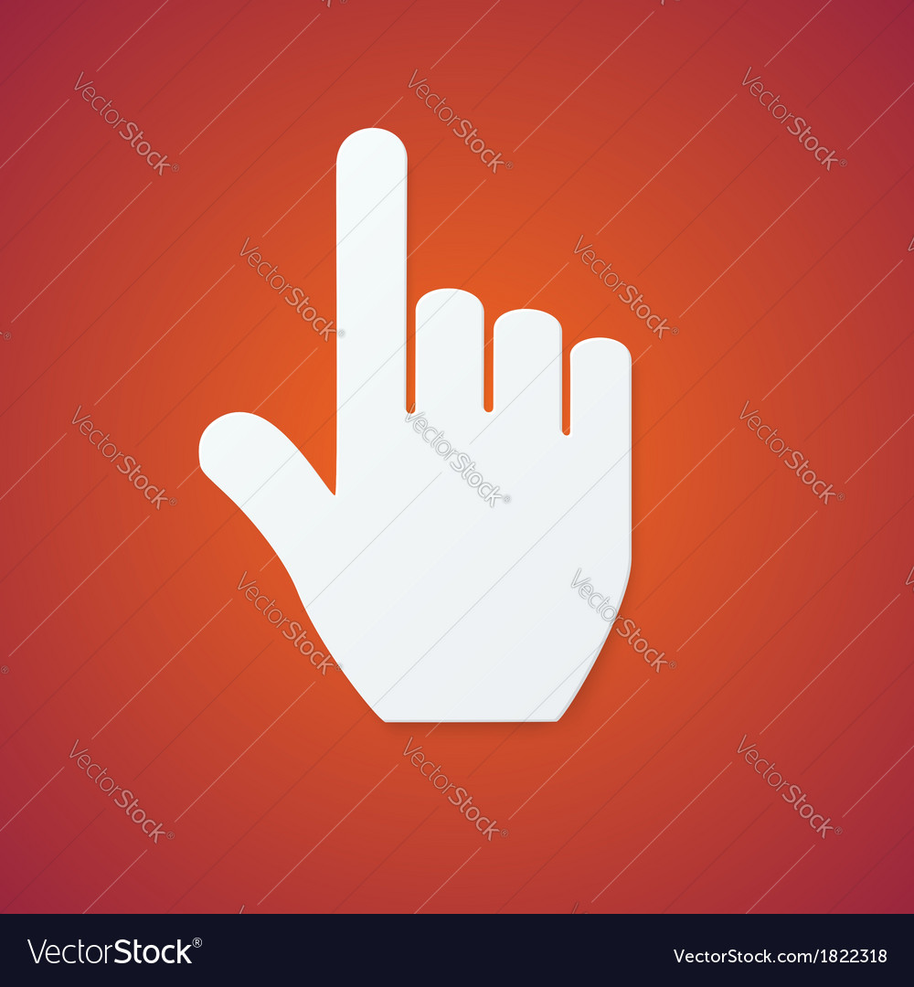 Paper hand cursor on orange background vector | Price: 1 Credit (USD $1)