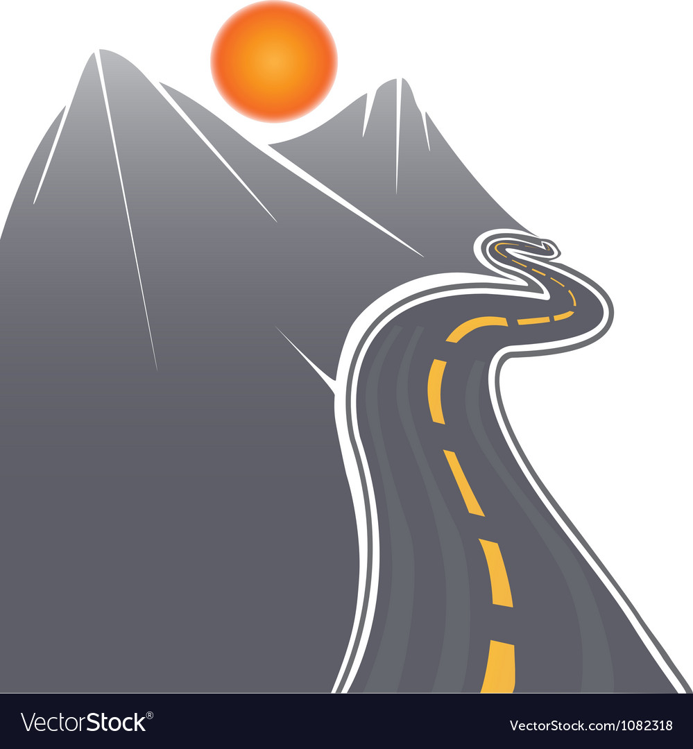 Road mountains and sun vector | Price: 1 Credit (USD $1)