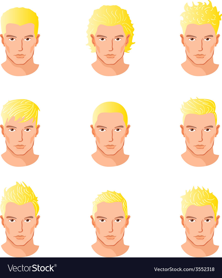 Set different hair style young men portraits vector | Price: 1 Credit (USD $1)