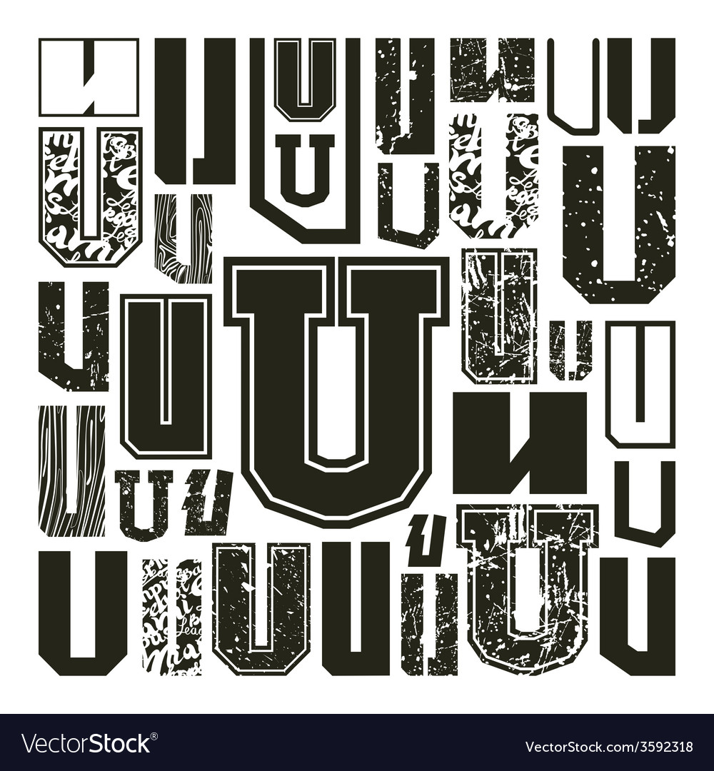 Set versions of letters u vector | Price: 1 Credit (USD $1)