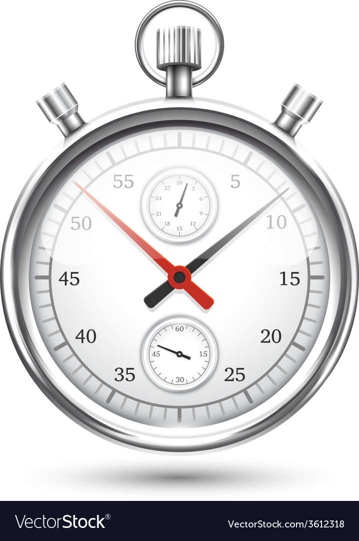 Silver stopwatch graphic hovering on white vector | Price: 1 Credit (USD $1)