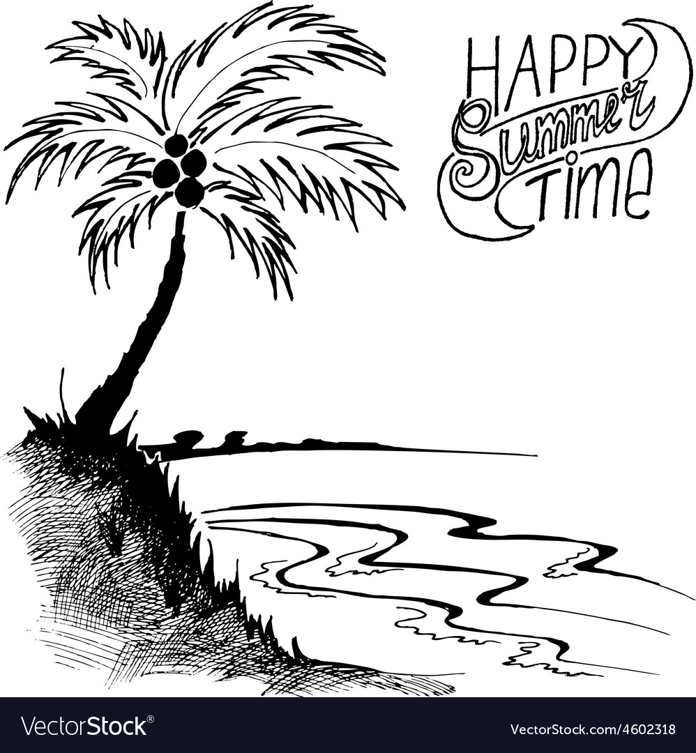 Sketch of a beach with palm tree vector | Price: 1 Credit (USD $1)