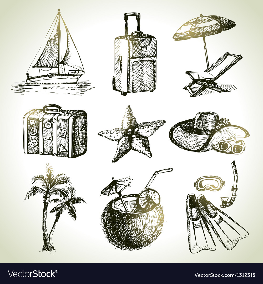 Travel set hand drawn objects vector
