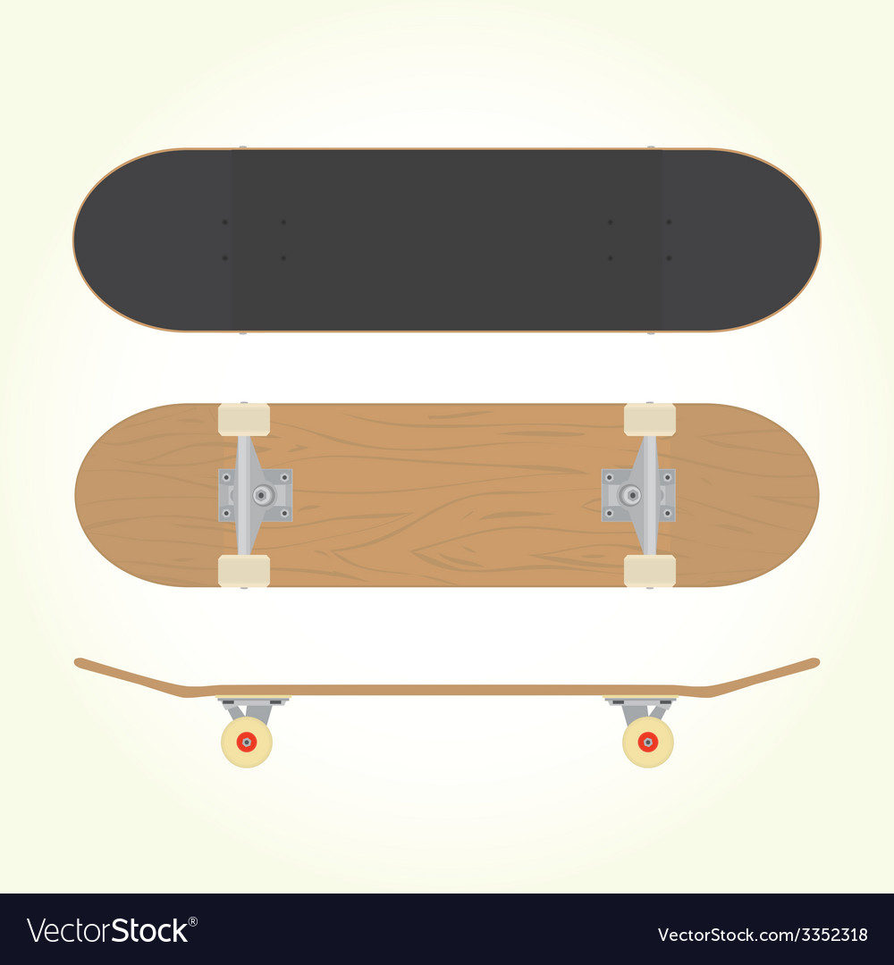 Wood blank skateboard vector