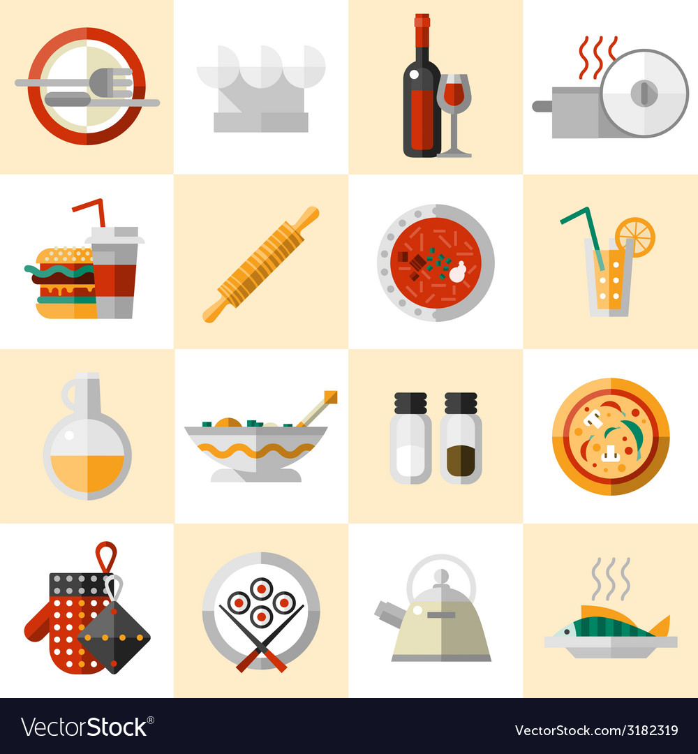 Cooking food icons set vector | Price: 1 Credit (USD $1)