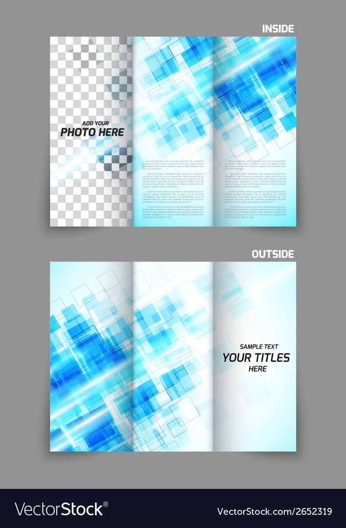 Digital tri-fold brochure with squares vector | Price: 1 Credit (USD $1)