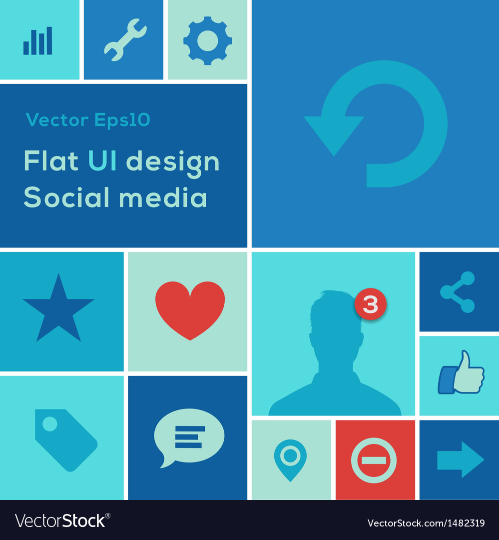 Flat ui design trend social media set icons vector | Price: 1 Credit (USD $1)