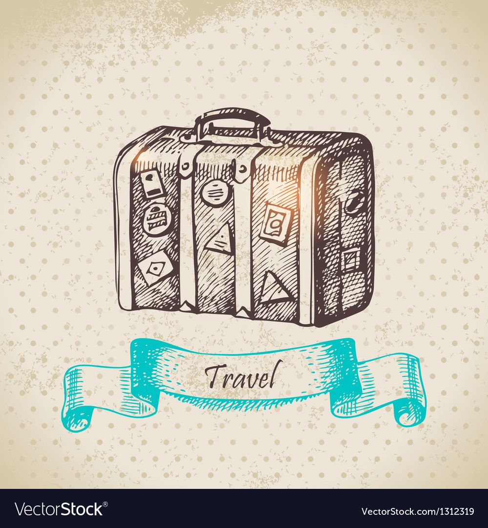 Hand drawn vintage background with travel suitcas vector | Price: 1 Credit (USD $1)