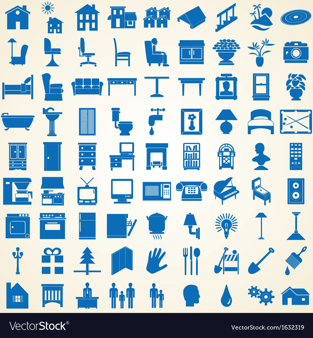 Household interior icons vector | Price: 1 Credit (USD $1)