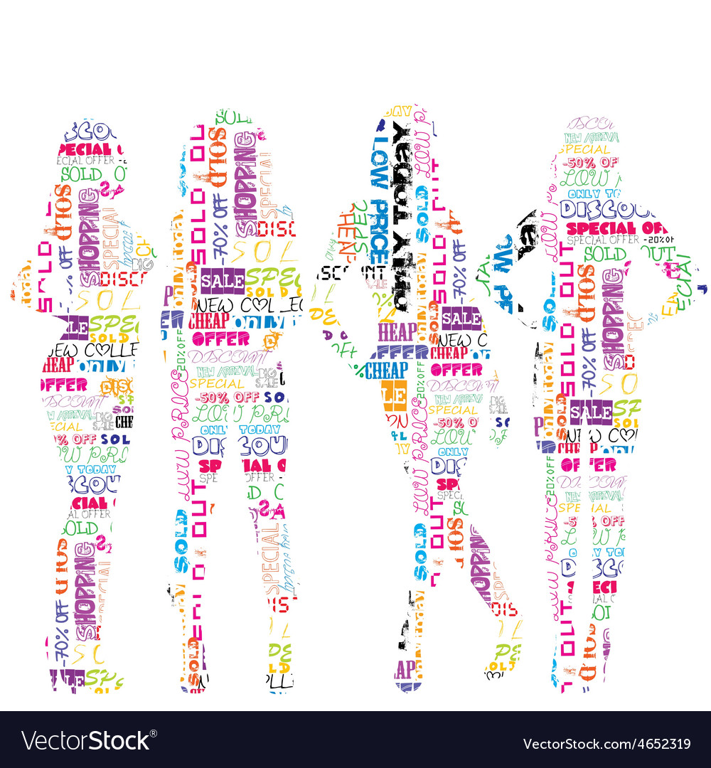 Women silhouettes patterned in advertisement vector | Price: 1 Credit (USD $1)