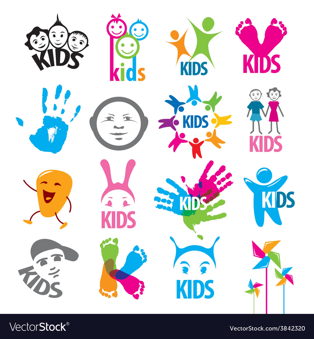 Big set of logos children vector | Price: 1 Credit (USD $1)