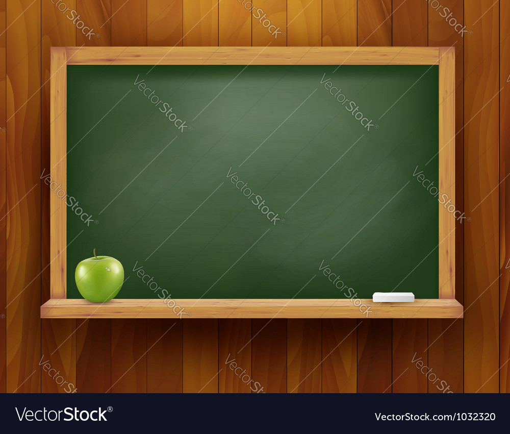 Blackboard with green apple on wooden background vector | Price: 3 Credit (USD $3)