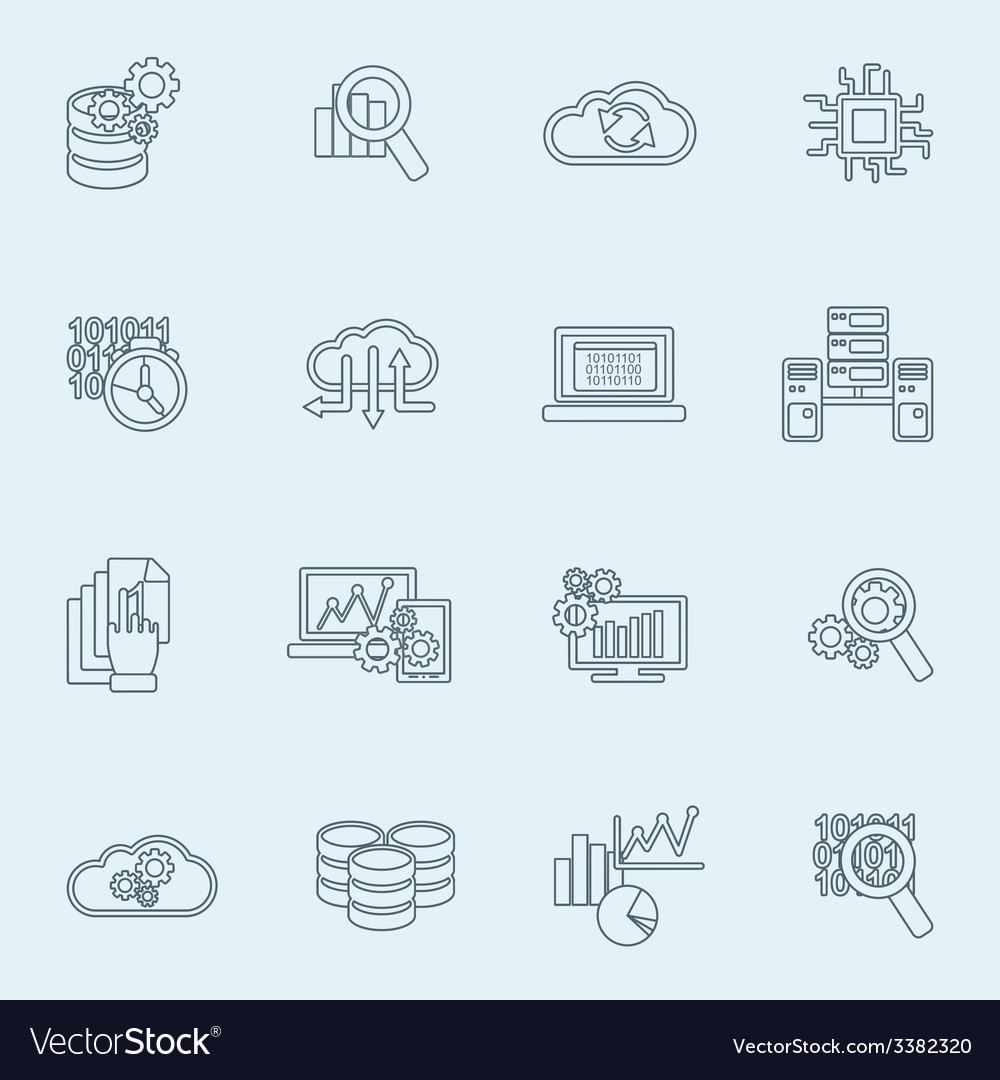 Database analytics icons outline vector | Price: 1 Credit (USD $1)
