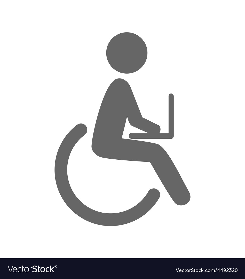 Disability man with notebook pictogram flat icon vector | Price: 1 Credit (USD $1)