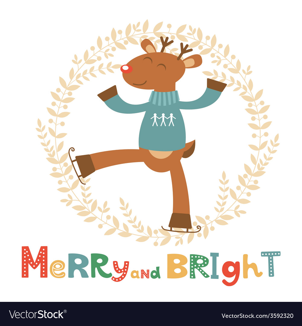 Merry and bright card with cute deer boy vector | Price: 1 Credit (USD $1)