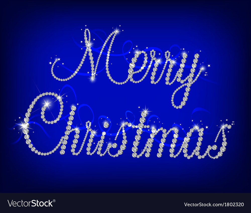 Merry christmas text with diamond vector | Price: 1 Credit (USD $1)