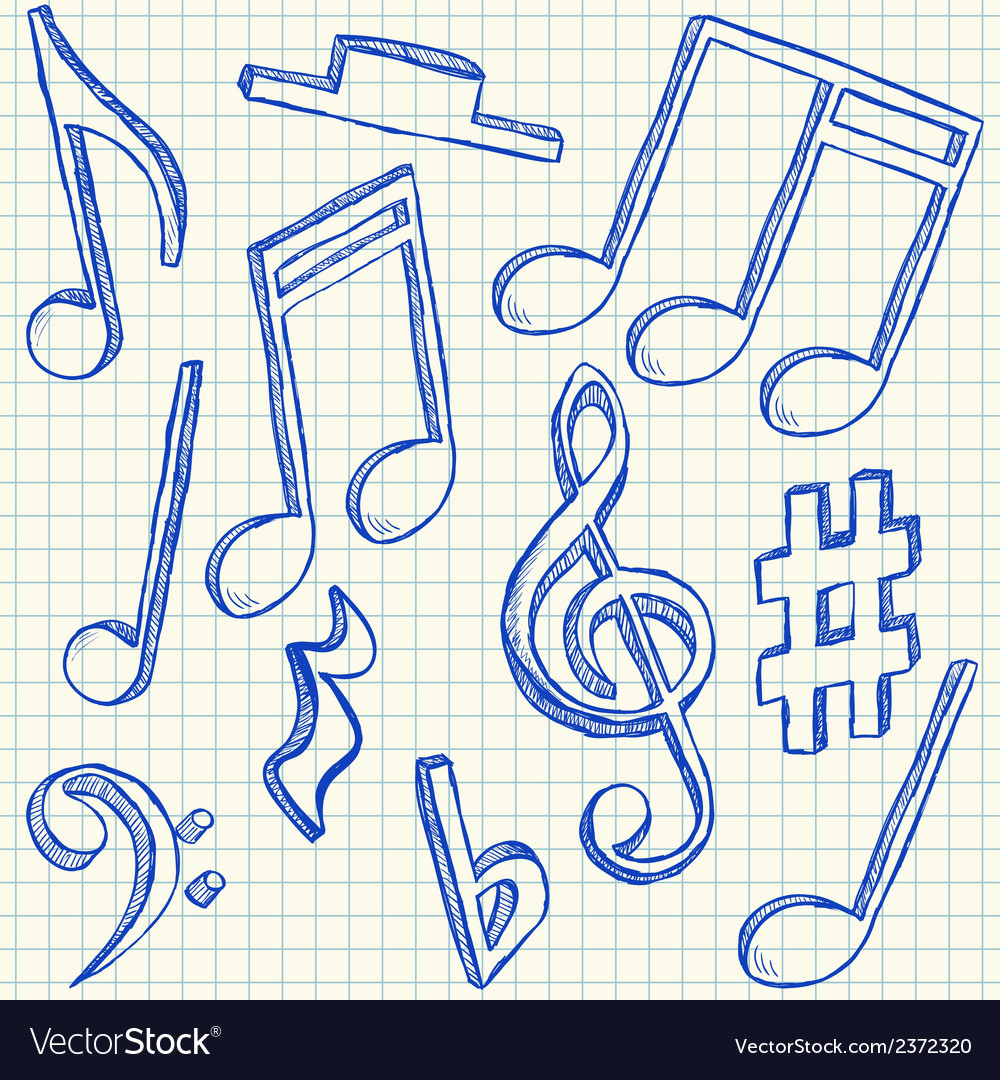 Musical notes doodles vector | Price: 1 Credit (USD $1)