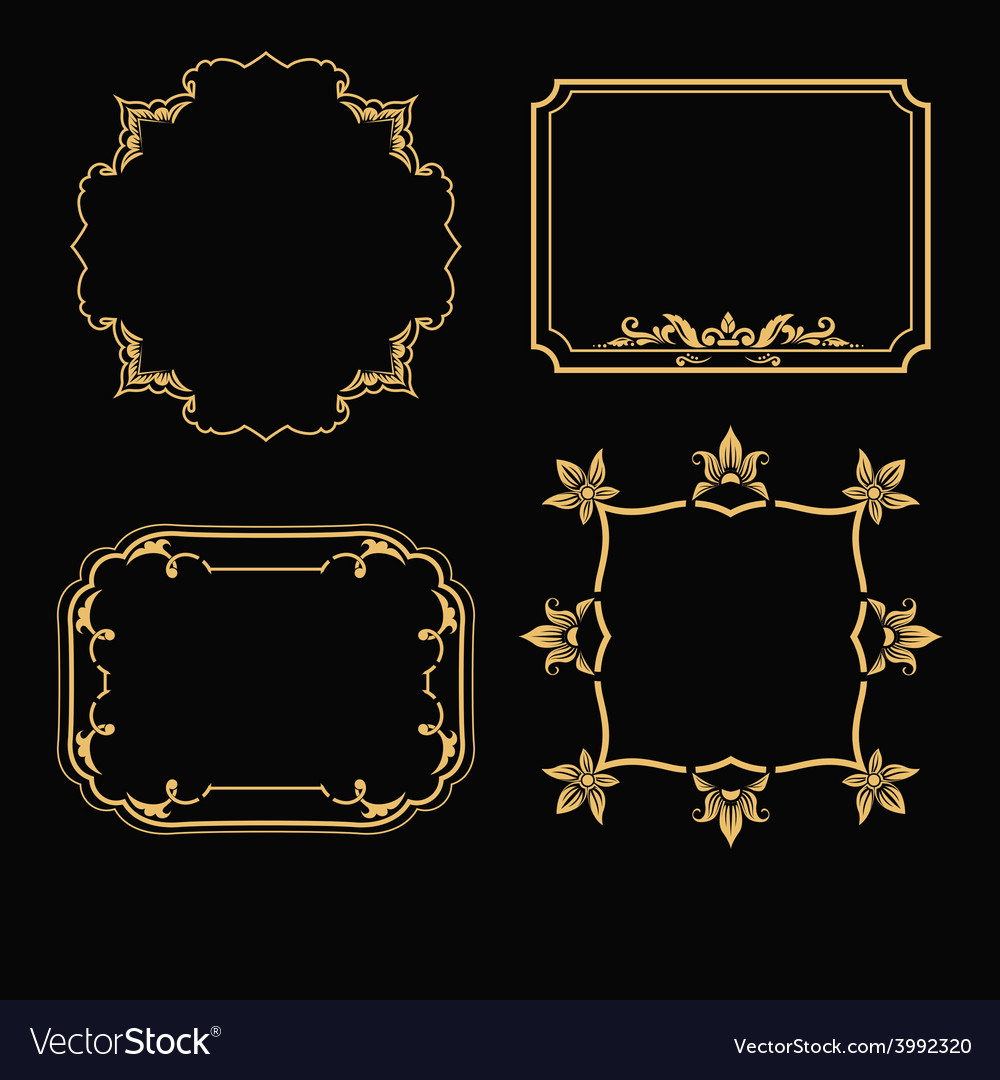 Patterned gold frame vector | Price: 1 Credit (USD $1)