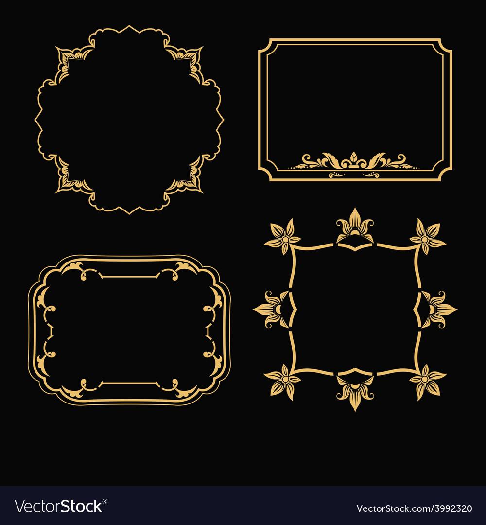 Patterned gold frame vector | Price: 1 Credit (USD $1)