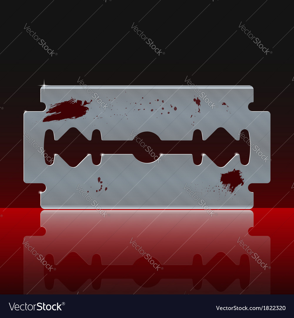 Razor blade stained with blood vector | Price: 1 Credit (USD $1)