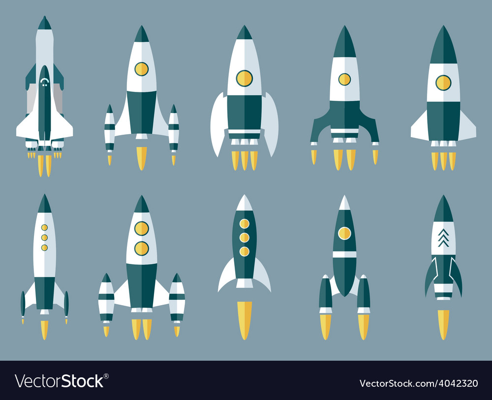 Set of various rocket spaceship vector