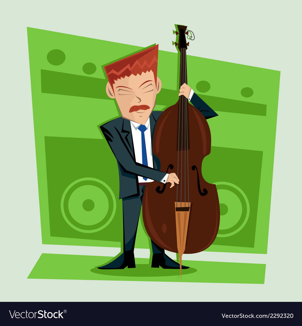 Smooth and elegant jazz contra bass player vector | Price: 1 Credit (USD $1)