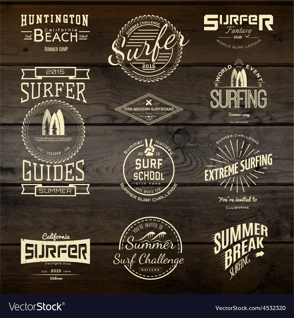 Surf badges logos and labels for any use vector | Price: 1 Credit (USD $1)