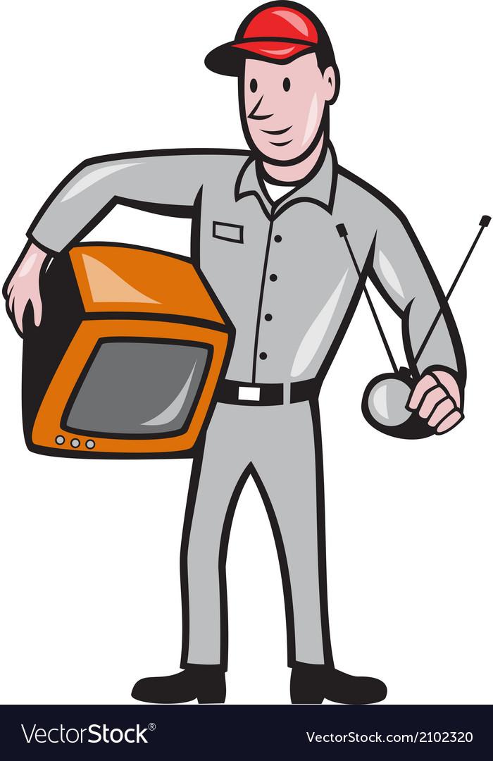 Tv repairman technician cartoon vector | Price: 1 Credit (USD $1)