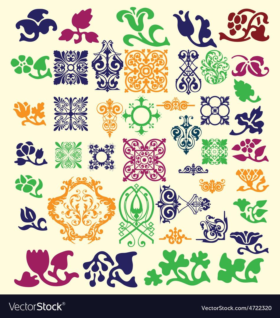 Vintage floral decorative elements vector | Price: 1 Credit (USD $1)