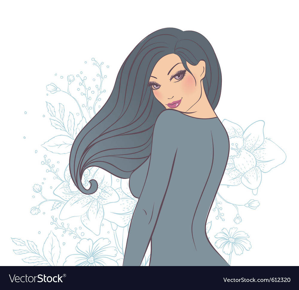 Woman florals back vector | Price: 3 Credit (USD $3)