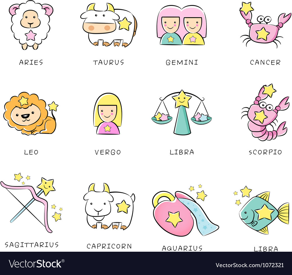 12 zodiac constellation mascot icon the west vector | Price: 3 Credit (USD $3)