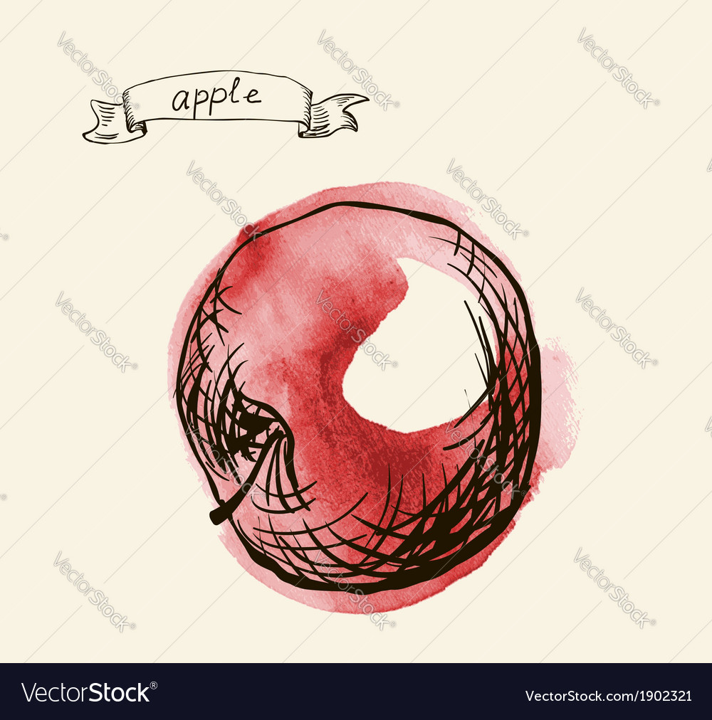 Artistic apple sketch vector | Price: 1 Credit (USD $1)