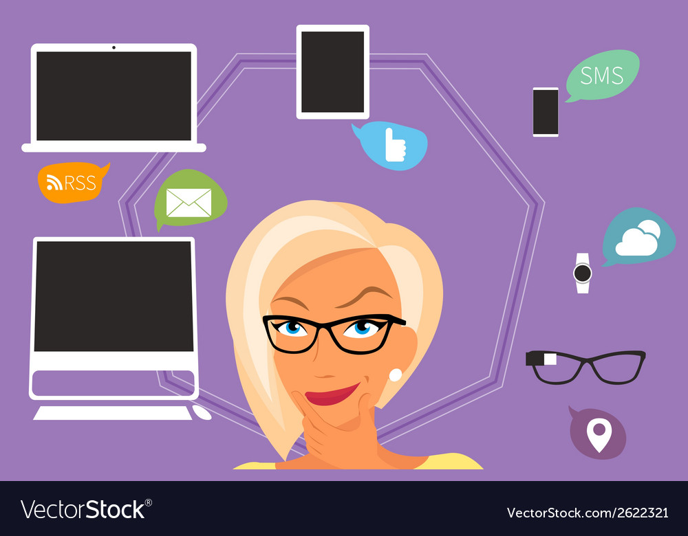 Blond woman thinking about gadgets and vector | Price: 1 Credit (USD $1)