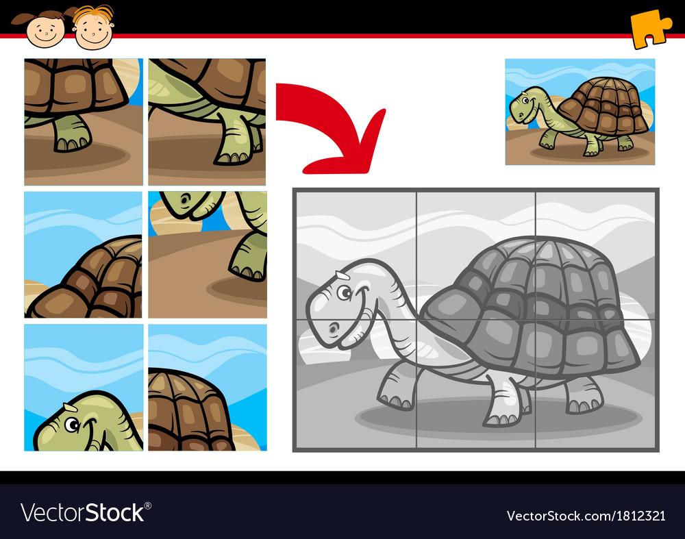 Cartoon turtle jigsaw puzzle game vector | Price: 1 Credit (USD $1)