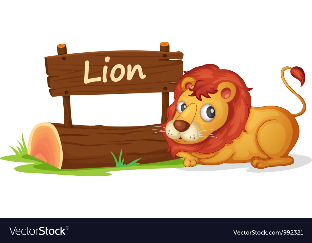 Cartoon zoo lion sign vector | Price: 1 Credit (USD $1)