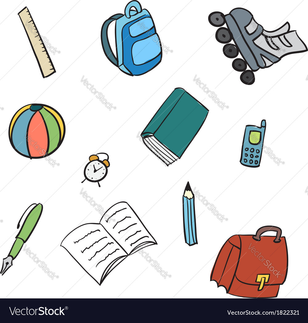 Colorful school carton items vector | Price: 1 Credit (USD $1)