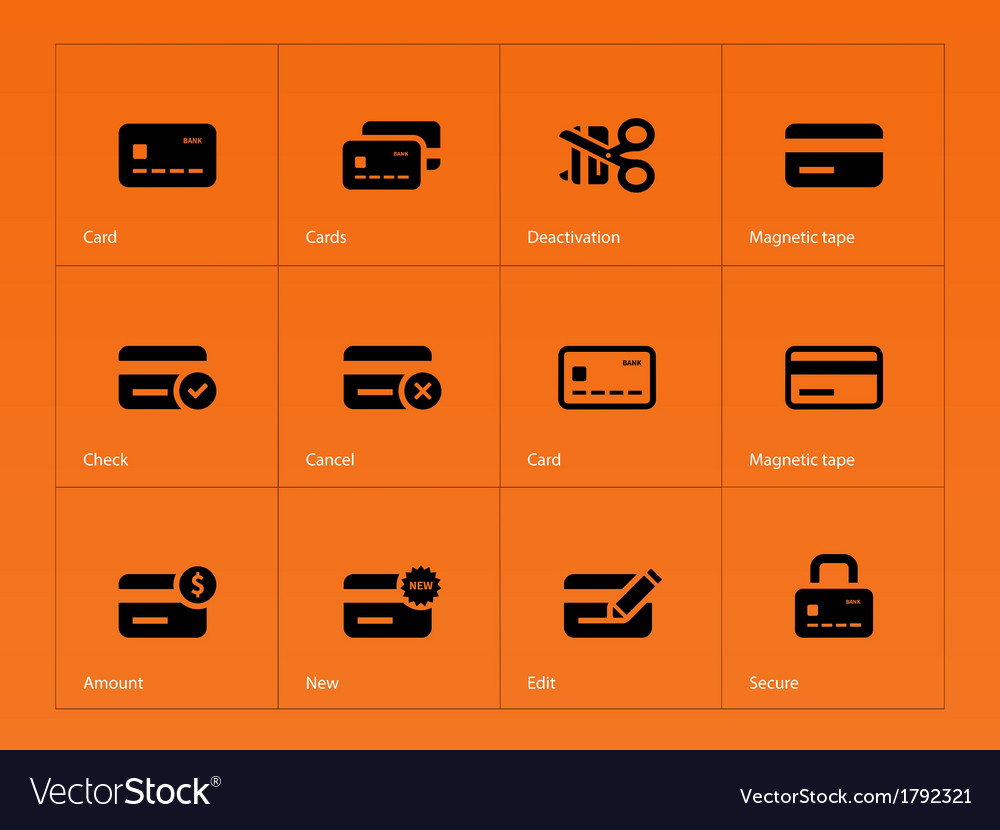 Credit card icons on orange background vector | Price: 1 Credit (USD $1)