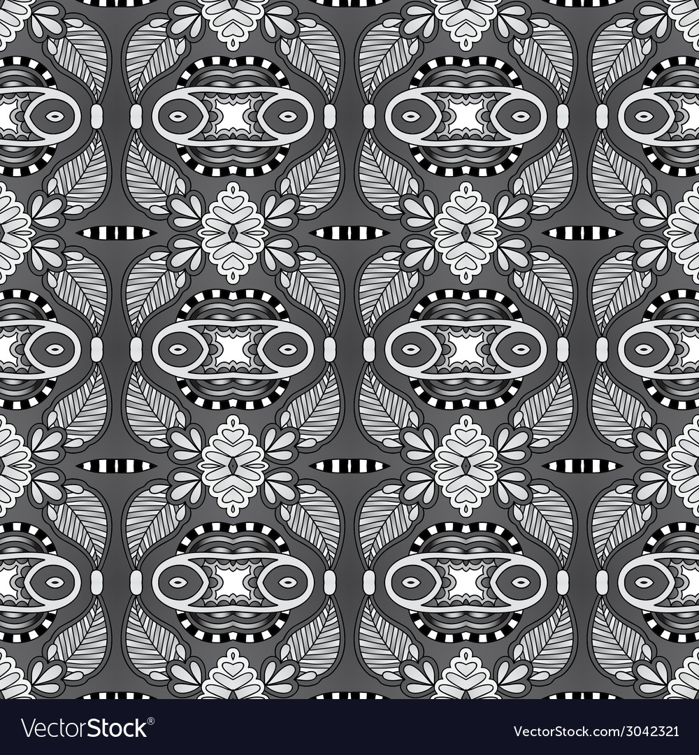 Grey geometry vintage floral seamless pattern vector | Price: 1 Credit (USD $1)