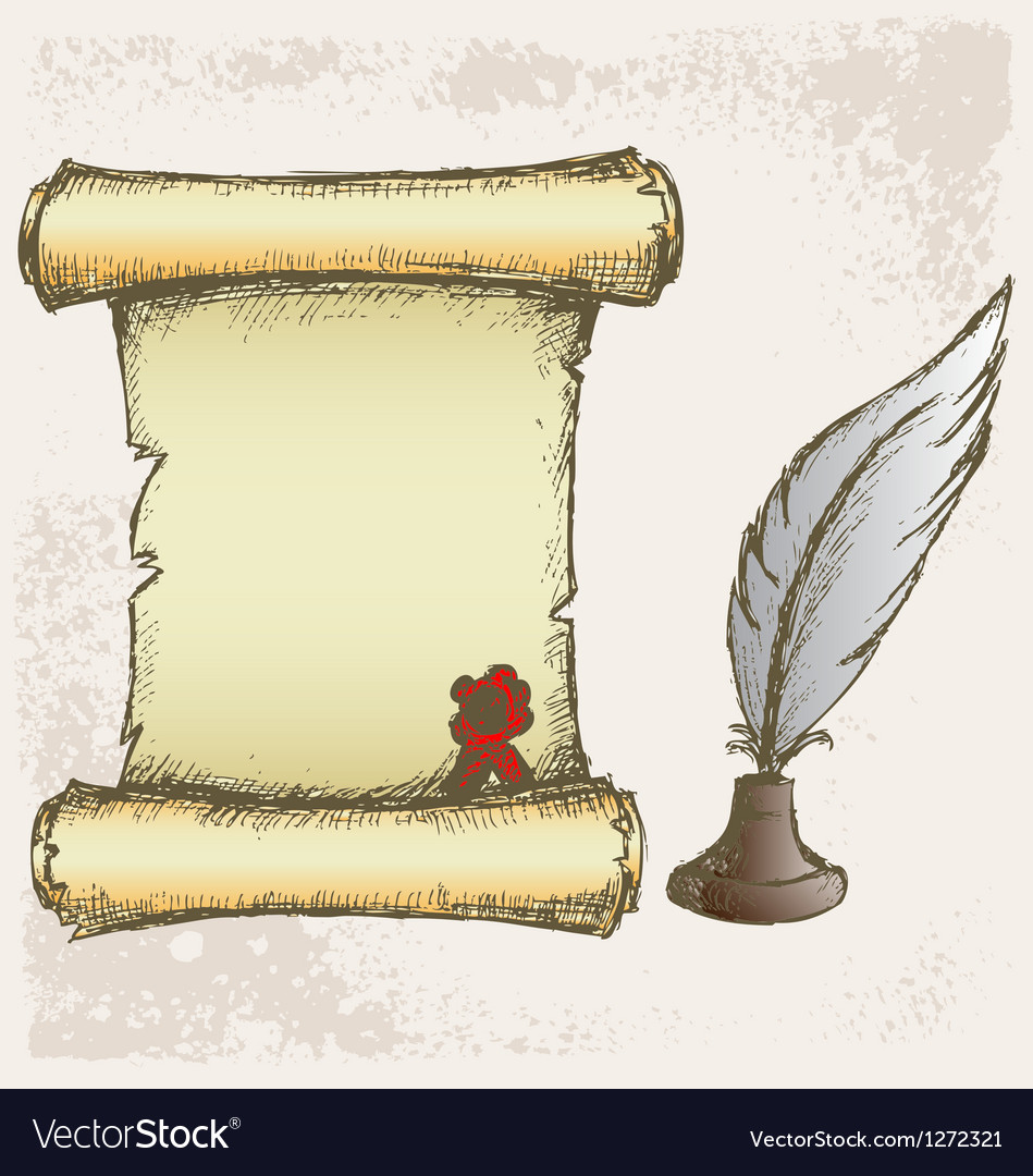 Parchment scroll and feather vector | Price: 1 Credit (USD $1)