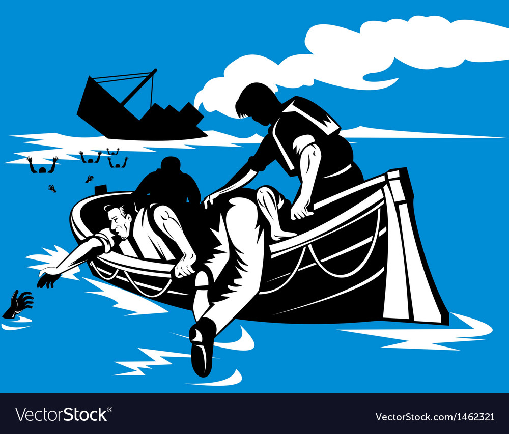 Passenger ship sinking survivors in life raft vector | Price: 1 Credit (USD $1)