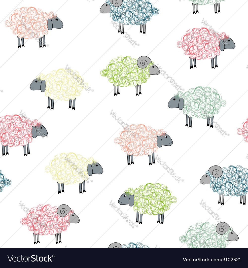 Seamless pattern with colored sheeps vector | Price: 1 Credit (USD $1)
