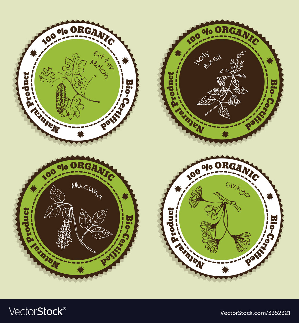 Set of natural organic product badges vector   Price: 1 Credit (USD $1)