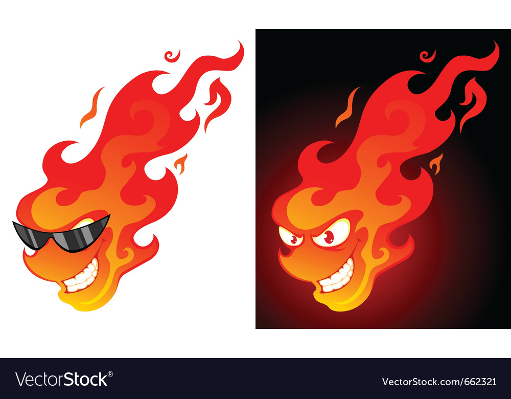 Smiling cartoon fire ball vector | Price: 1 Credit (USD $1)