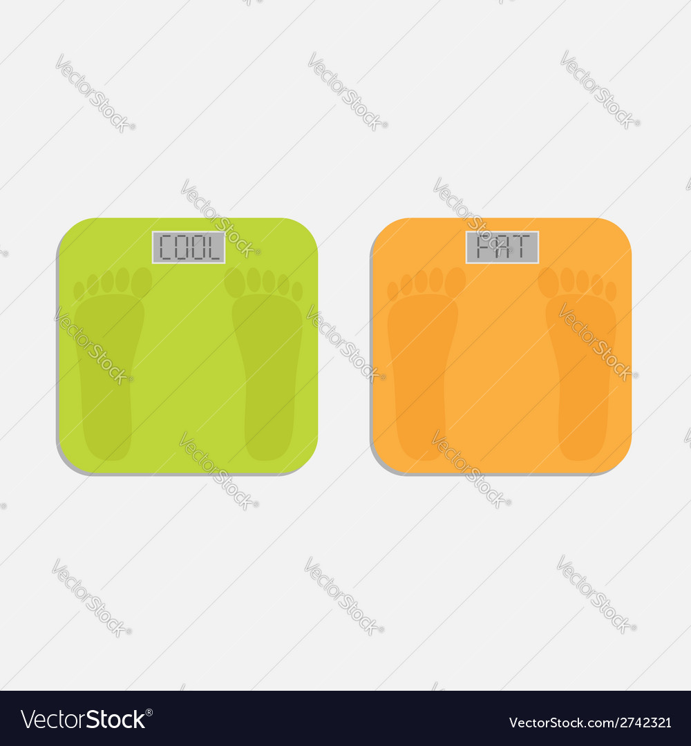 Weight scale with word fat and cool flat design vector | Price: 1 Credit (USD $1)